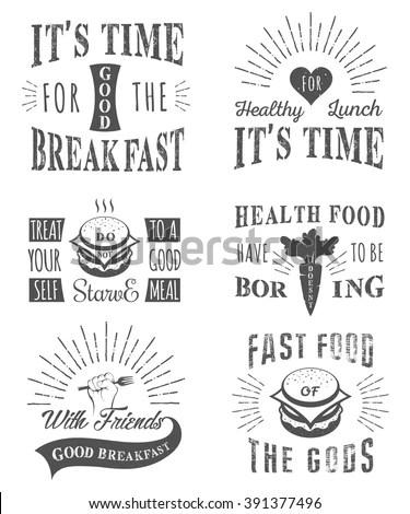 Set Vintage Food Typographic Quotes Vector Stock Vector