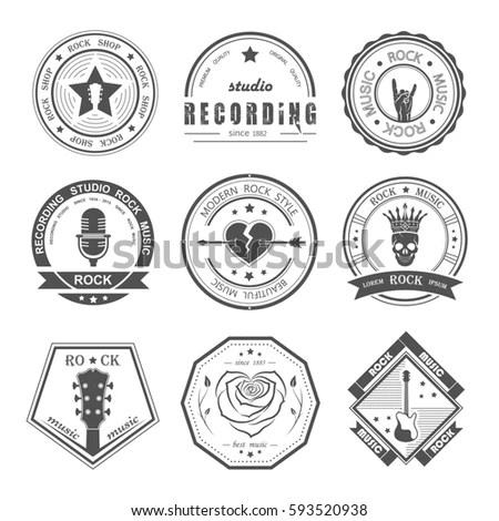 Set Logos Rock Music Recording Studios Stock Vector