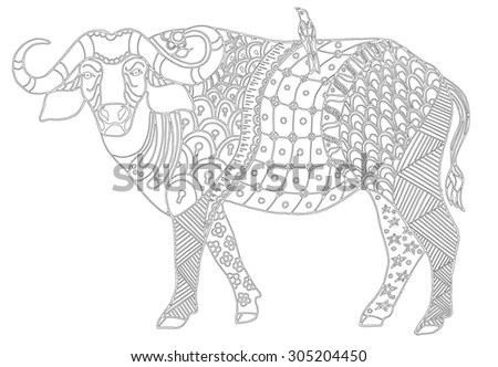 Vector Illustration Zentangl Indian Elephant Flowers Stock