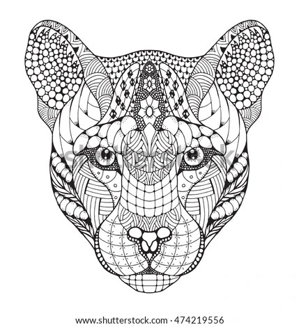Cougar Mountain Lion Puma Panther Head Stock Vector