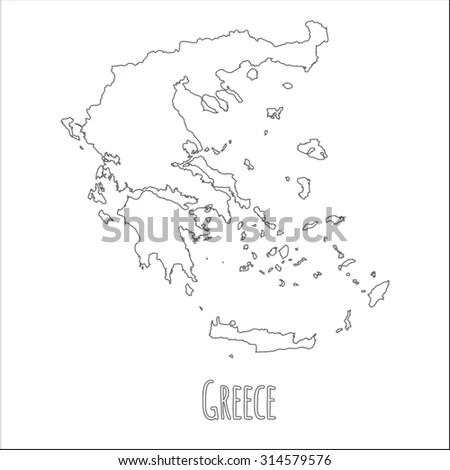 Outline Vector Map Greece Simple Greece Stock Vector