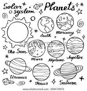 planets drawn solar drawing system cartoon doodle hand vector shutterstock illustration outline space sun galaxy handdrawn stars