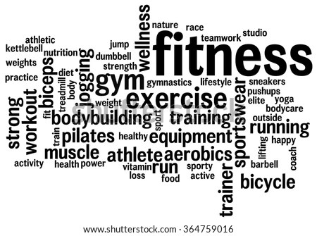 Fitness Word Cloud Workout Typography Background Stock