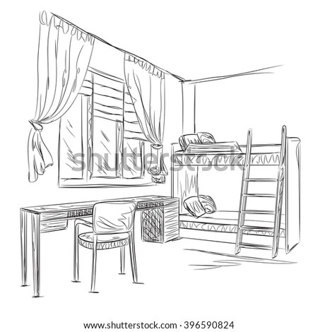 Room Interior Sketch Place Reading Relax Stock Vector
