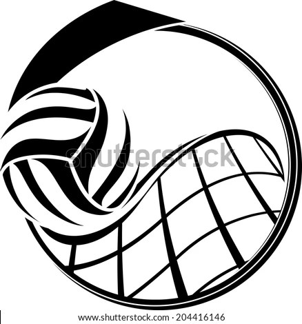 Illustration Volleyball Swooping Over Net Inside Stock