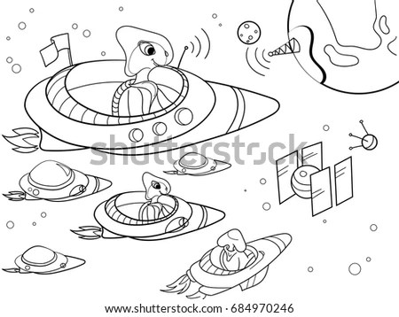Space Planets Rockets Spaceships Ufo Constellations Stock