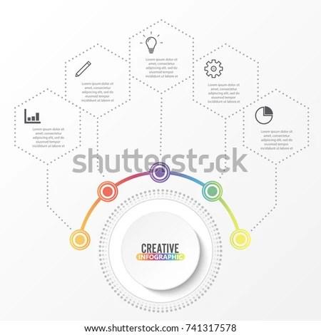 Vector Infographic Template 3d Paper Label Vectores En