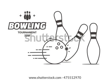 Bowling Tournament Poster Vector Template Flyer Stock