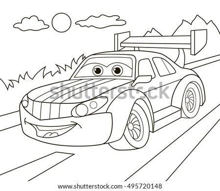 Cartoon Red Fire Truck Car Sticker Stock Vector 328549853