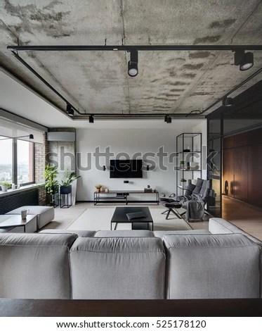 Loft Style Sittingroom White Brick Concrete Stock Photo 525178120  Shutterstock