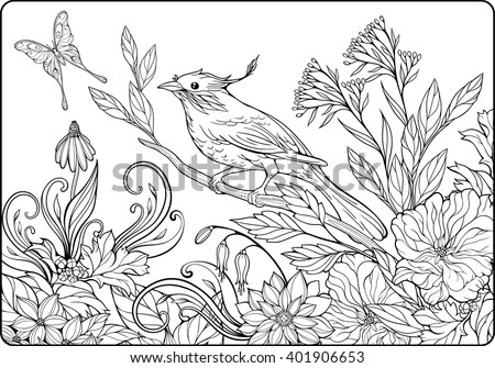 Coloring Page Bird On Branch Lots Stock Vector 401906653