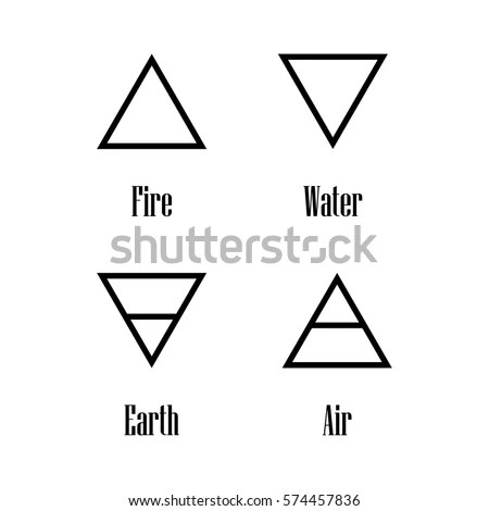 Vector Illustration Four Elements Icons Line Stock Vector