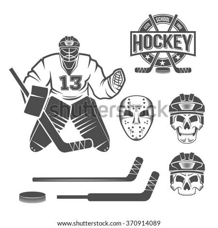Set Hockey Elements Puck Stick Helmet Stock-vektorgrafik