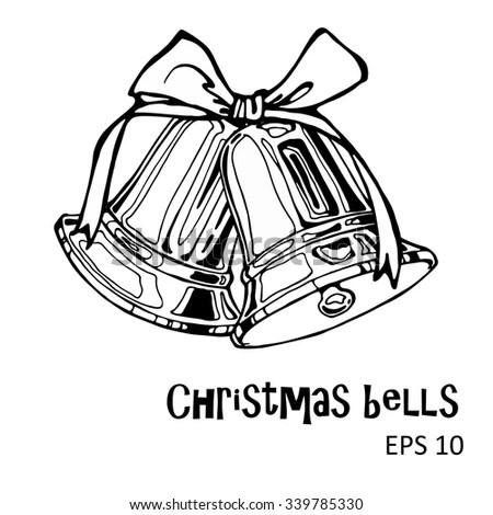 Vector Illustration Christmas Bells Bow Outline Stock