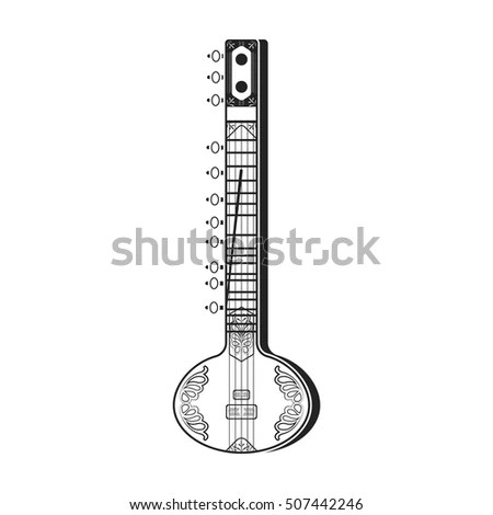 Sitar Icon Black Style Isolated On Stock Vector 507442246