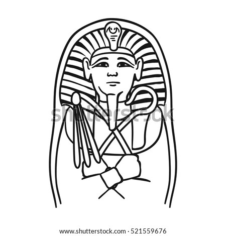 Egyptian Pharaoh Sarcophagus Icon Outline Style Stock