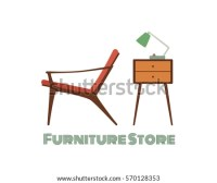 Vector Card Living Room Furniture Midcentury Stock Vector ...