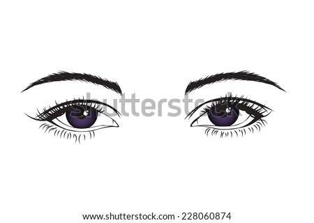 Couple Black Manga Anime Cartoon Eyes Stock Vector
