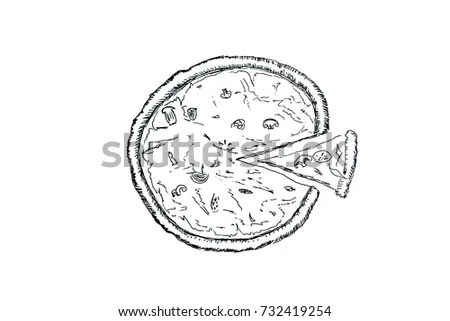 Doodle Style Pizza Slice Cut Out Stock Vector 99987530