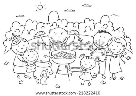 Big Family Having Picnic Outdoors Black Stock Vector
