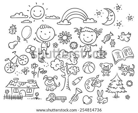Doodle Set Objects Childs Life Black Stock Vector