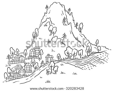 Black And White Mountains Stock Images, Royalty-Free