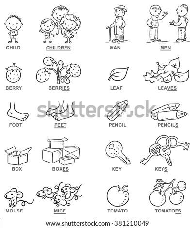 Plural Nouns Cartoon Pictures Black White Stock Vector