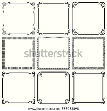 Vector Decorative Frames Set 33 Stock Vector 113878948
