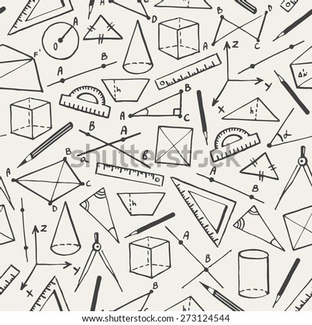 School vector background. Doodle style seamless pattern