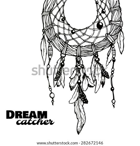 Dream Catcher Feathers Beads Native American Stock Vector
