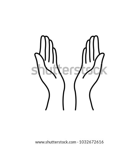 Thin Line Prayer Hands Black Icon Stock Vector 1032672616