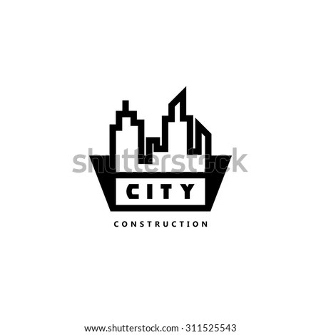 Construction Company Logo Vector Illustration Building