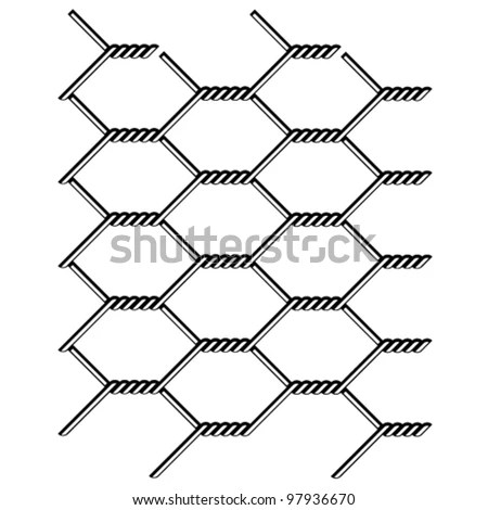 Vector Chicken Wire Seamless Black Silhouette Stock Vector