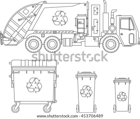 Coloring Pages Set Garbage Truck Different Stock Vector