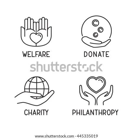 Donate Icon Set Charity Philanthropy Welfare Stock Vector