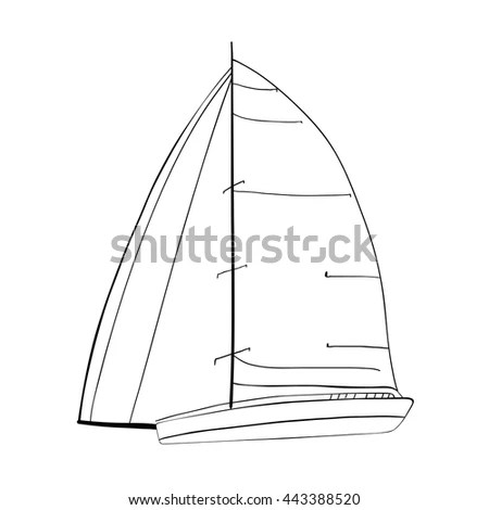 Contour Sailboat Made Vector Isolated On Stock Vector