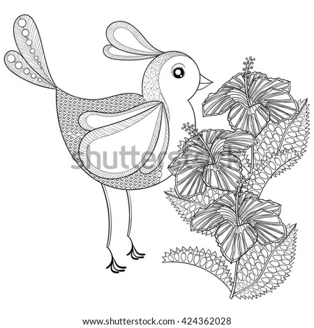 Coloring Page Pelican Zentangle Illustartion Adult Stock