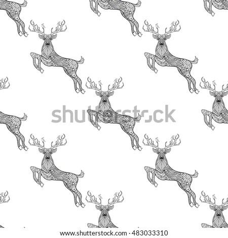 Zentangle Vector Reindeer Face Christmas Decoration Stock