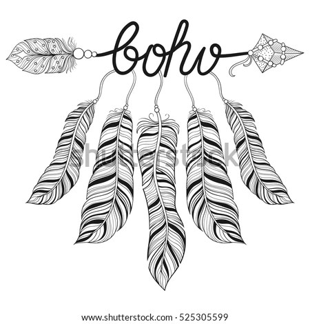 Boho Ethnic Arrow Feathers Freedom Concept Stock Vector