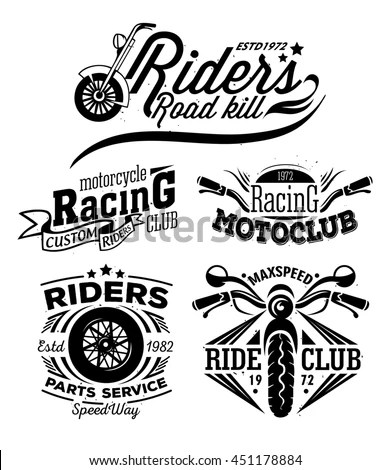 Set Vintage Motorcycle Labels Badges Design Stock Vector
