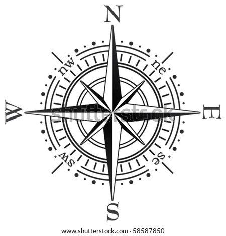 Black Compass Rose Isolated On White Stock Vector 21112648