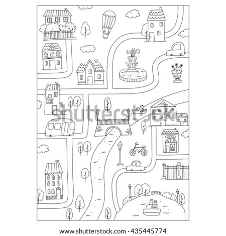 Christmas Sleight Coloring Page Stock Illustration