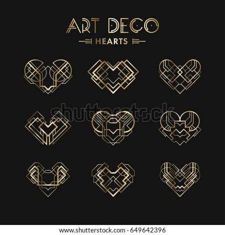 Set Art Deco Geometric Hearts Creative Stock Vector