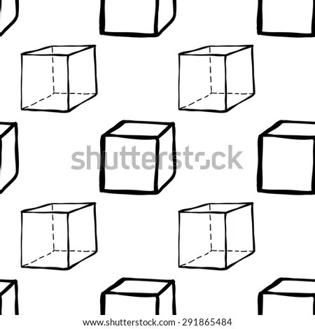 Set Five Hand Drawn Cubes Linear Stock Vector 488292451