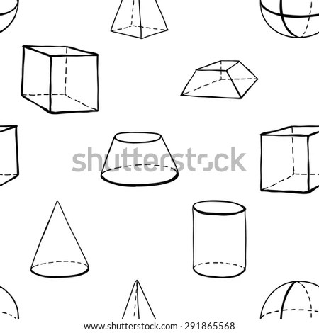 Black outline hand drawn vector frustum, cone, truncated