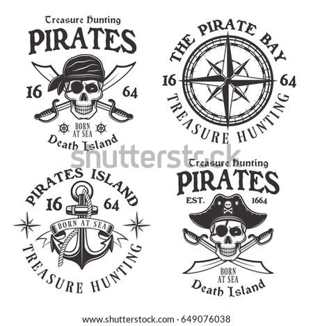 Piracy Emblems Jolly Roger Pirate Vector Stock Vector