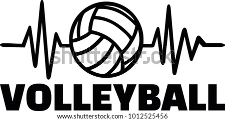 Heartbeat Pulse Line Volleyball Player Volleyball Stock