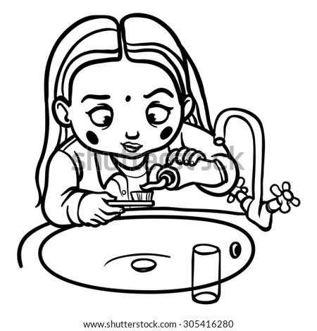 Portrait Girl Symbolizes Zodiac Sign Aries Stock Vector
