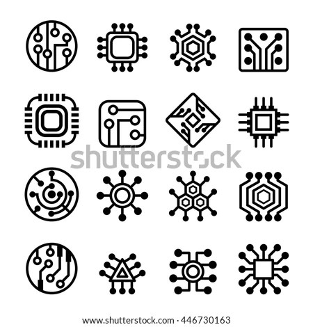 Computer Chips Electronic Circuit Icons Thin Stock Vector