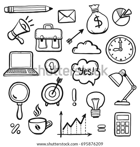 Set Hand Drawn Business Doodle Elements Stock Vector
